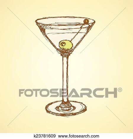Clip Art Of Sketch Martini Glass With Olive K23781609 Search
