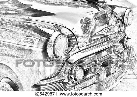 Clipart Of Sketch Of Classic Vintage Car Grill K25429871 Search