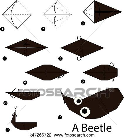 Step by step instructions how to make origami a hippopotamus. Animal toy  cartoon cute paper steps origami. | 470x423
