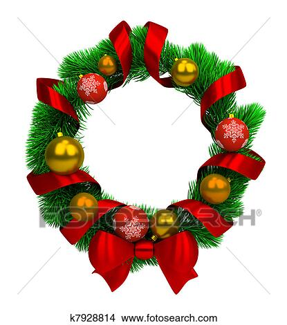 Drawings Of Christmas Wreaths.Christmas Wreath Stock Illustration