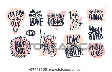 Clipart Of Collection Of Stylish Valentines Day Lettering
