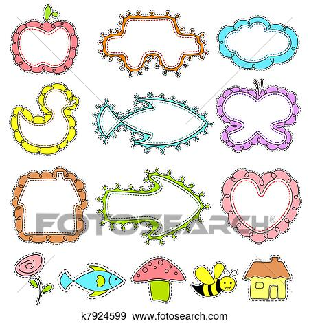Clip Art of Cute Frame for Kids k7924599 - Search Clipart ...