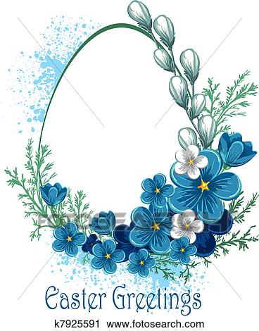 Clipart Of Easter Banner With Spring Flowers K7925591 Search Clip