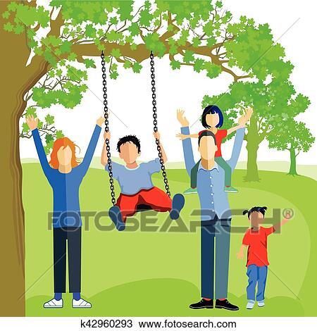 Familie Mit Schaukel Eps Clipart K42960293 Fotosearch