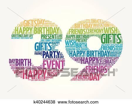 Happy 39th Birthday Word Cloud Clip Art K40244638 Fotosearch