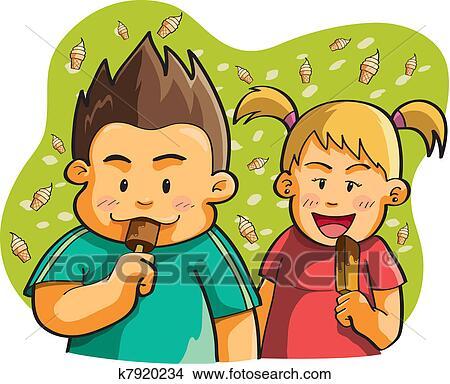 Clipart Kinder Essen Eis K7920234 Suche Clip Art Illustration