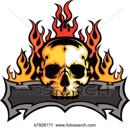 clipart of skull template with flames vector i k7928171 search rh fotosearch com