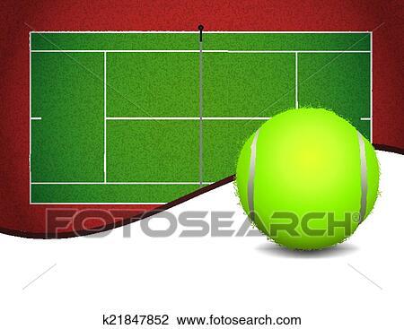 テニスコート そして ボール 背景 イラスト クリップアート切り
