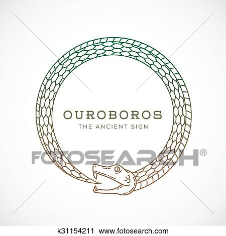 Clipart Of Abstract Vector Ouroboros Snake Symbol Sign Or A Logo