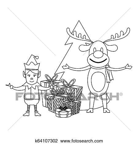 Estacao Natal Desenhos Animados Em Preto Branco Clipart
