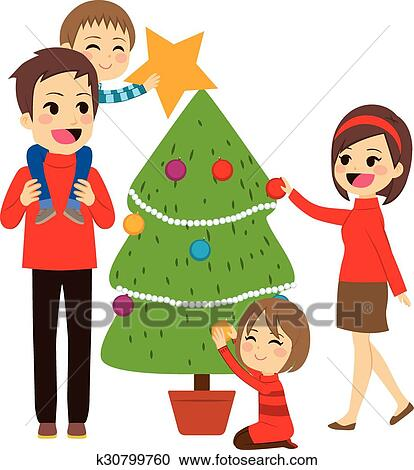 Clipart Of Family Decorating Christmas Tree K30799760 Search Clip