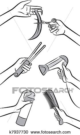 Clipart Of Hairdresser Hands For Beauty Salon K7937730