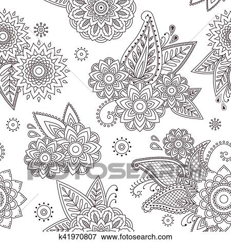 Clip Art Of Henna Paisley Mehndi Tattoo Doodle Seamless Vector
