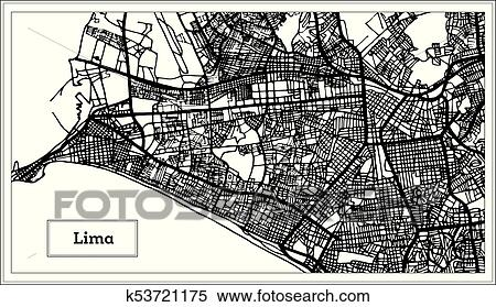 Lima Peru Mapa Ciudad En Negro Y Blanco Color Clipart K53721175 Fotosearch