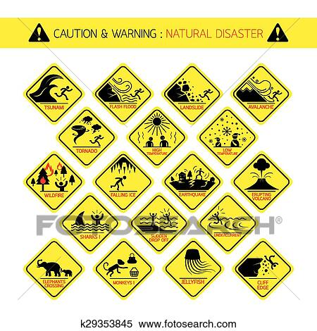 Natural Disaster Warning Signs Clipart