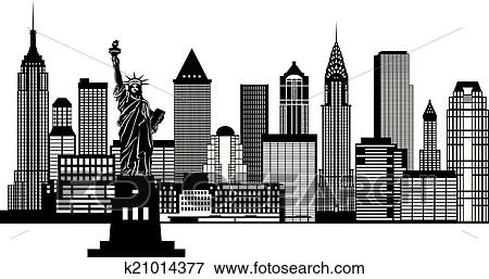 clip art new york city skyline schwarz wei abbildung k21014377 suche clipart poster. Black Bedroom Furniture Sets. Home Design Ideas