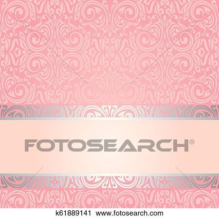 Pink Silver Gentle Invitation Vintage Wallpaper Design