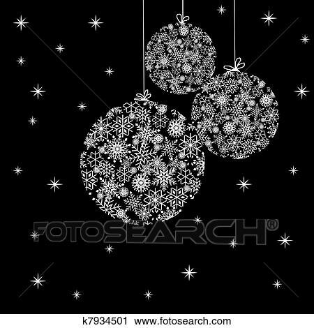 schwarz wei weihnachten kugeln clipart k7934501. Black Bedroom Furniture Sets. Home Design Ideas