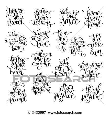 Clip Art Of Set Of Handwritten Positive Inspirational Quotes Brush