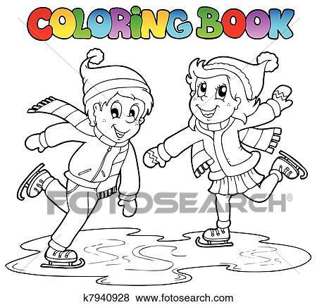 Clip Art Ausmalbilder Skaten Junge Mädchen K7940928 Suche