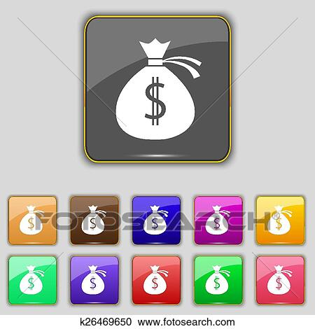 Clipart - bolsa dinero, icono, signo., conjunto, con, once ...