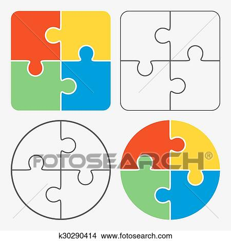 clipart of colorful jigsaw puzzle vector four pieces k30290414 rh fotosearch com puzzle vector outline puzzle vector file free
