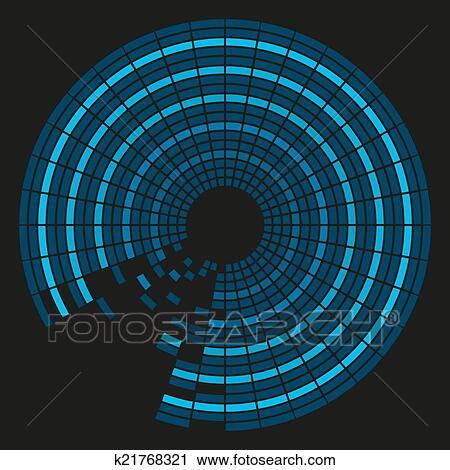 Colorito Fondo In Sfumature Blu In Circolare Tegole Con Bla