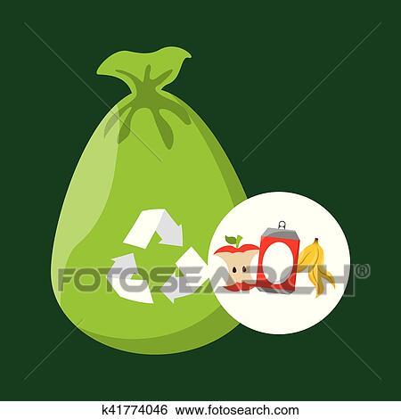 clipart conceito reciclagem processo lixo icond desenho