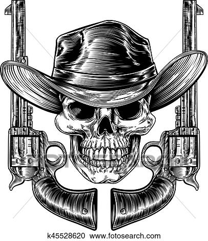 Clipart of Cowboy Hat Skull and Pistols k45528620 - Search Clip Art ... e7043537efaa
