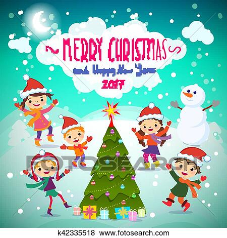 clip art of merry christmas and happy new year 2017 winter fun cheerful kids playing in the snow stock vector illustration of a group of happy children