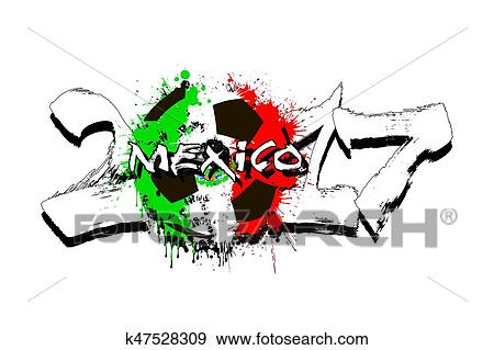 Number 2017 And Soccer Ball Painted In The Colors Of The