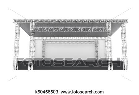 Outdoor Concert Stage Isolated On White Background 3D Render