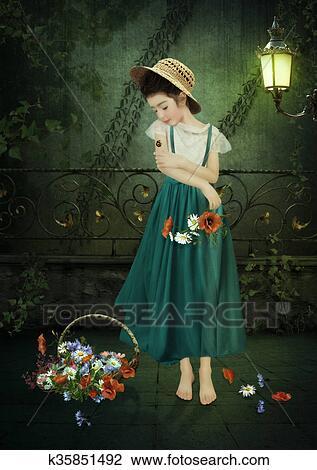 Petite Fille à Fleurs Dessin