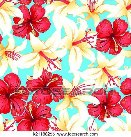 Clipart - rot, weiß gelb, tropische, hibiskus, blumen, seamless ...