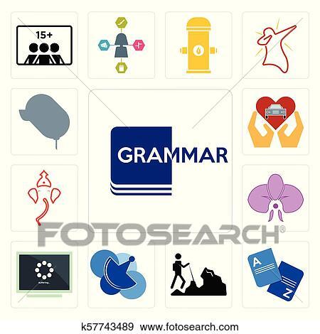 Set of grammar, vocabulary, hiker, telecom, buffering, orchid, ganesh, car  dealer, dealer icons Clip Art