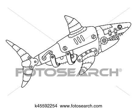 Clipart Of Steampunk Style Shark Coloring Book Vector K45592254