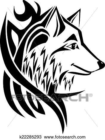 Clipart tatouage conception t te loup vendange engraving k22285293 recherchez des clip - Image de loup a imprimer ...