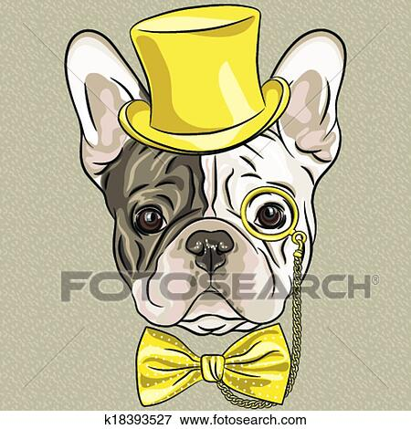 Clip Art Of Vector Funny Cartoon Hipster French Bulldog Dog