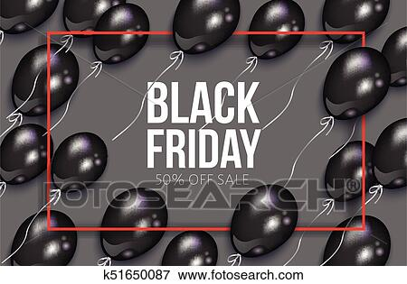 4de963b2153 Clip Art - vector realistic black friday poster with balloons. Fotosearch -  Search Clipart
