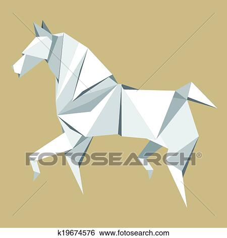 Clip Art Of White Paper Horse Origami K19674576 Search Clipart