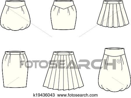 スカート クリップアート切り張りイラスト絵画集 K19436043