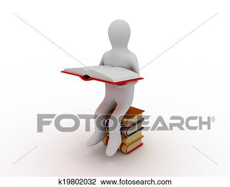 3d Homme Lire Livre Dessin