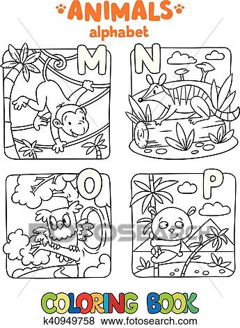 Clip Art of Animals alphabet or ABC. Coloring book k40949758 ...