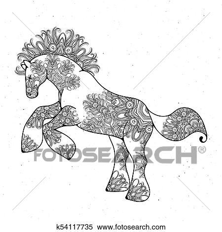 Antistress Linear Seite Mit Horse Zentangle Tier Für