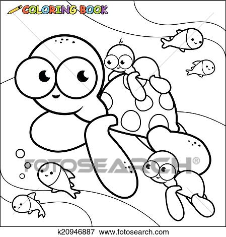 Coloring book sea turtles Clip Art