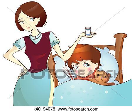 Clip Art Krankes Kind Lugen Bett Und Mutter Mit