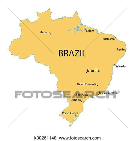 Map of Brazil with indication of largest cities Clip Art ...