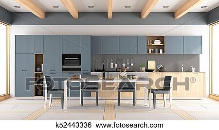 Moderno, legno, blu, cucina Archivio Illustrazioni
