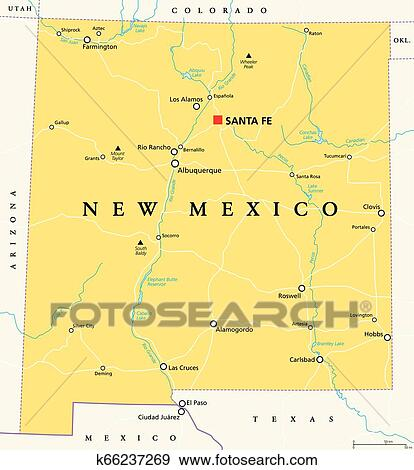 New Mexico, United States, political map Clip Art ...