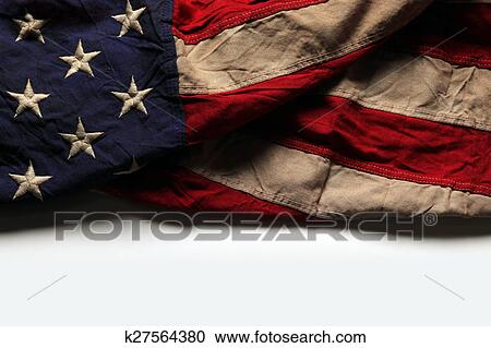 Old American flag background for Memorial Day or 4th of July Stock Image